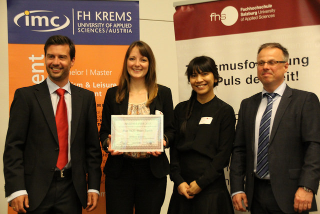 Best ICT Paper Award Winner Stefanie Bohacek with Roman Egger, Christian Maurer and Iis Tussyadiah